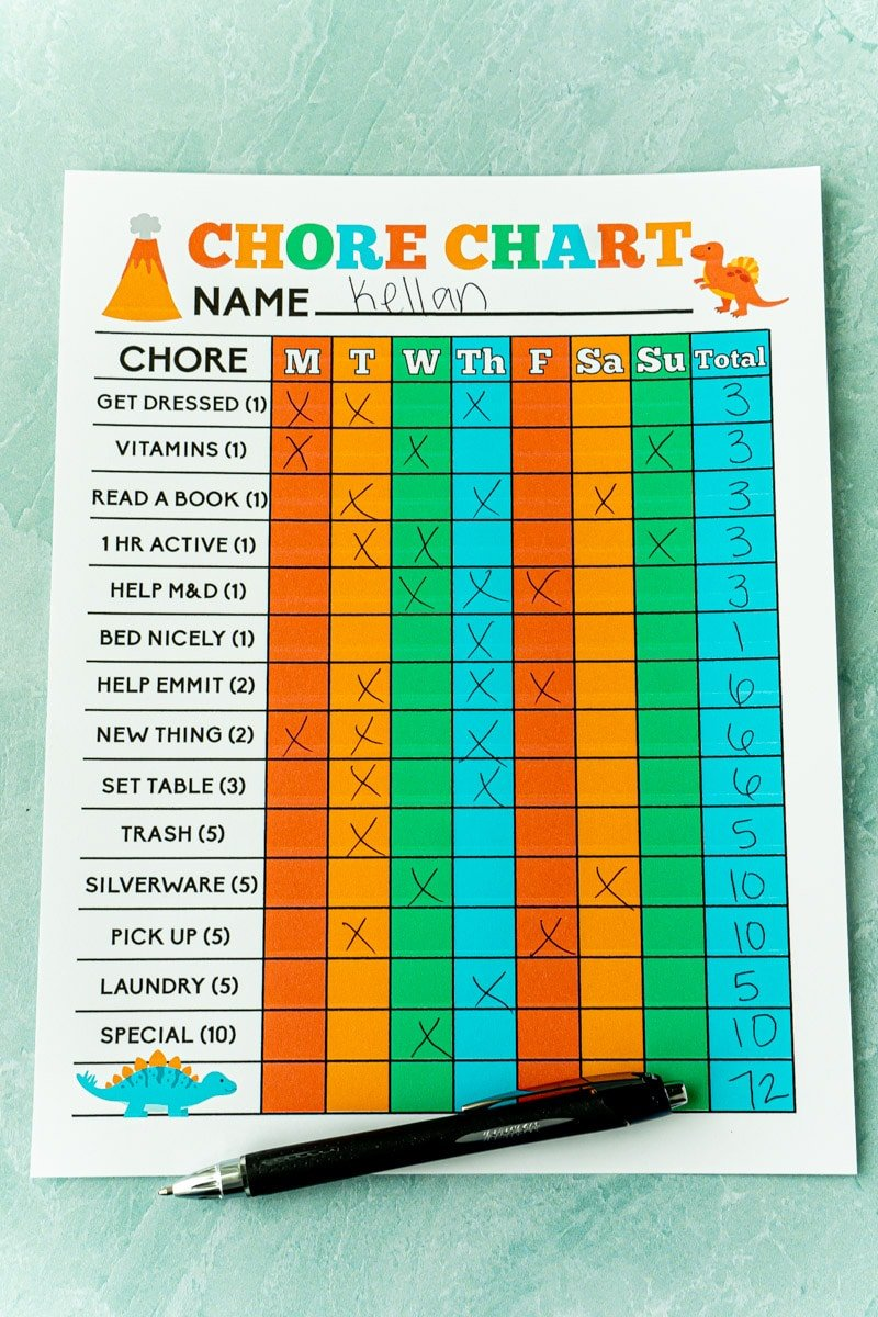 Free printable chore chart for 6-year-old