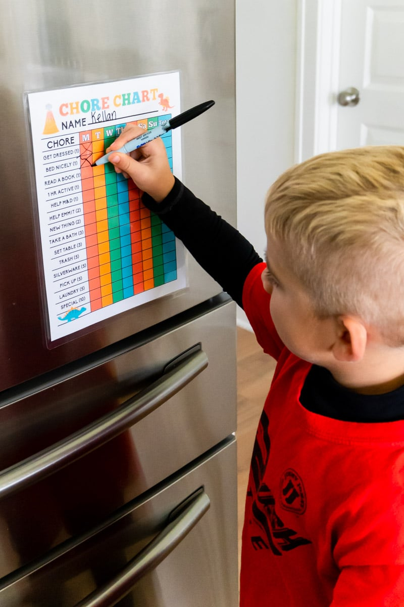 Filling out a blank chore chart for kids