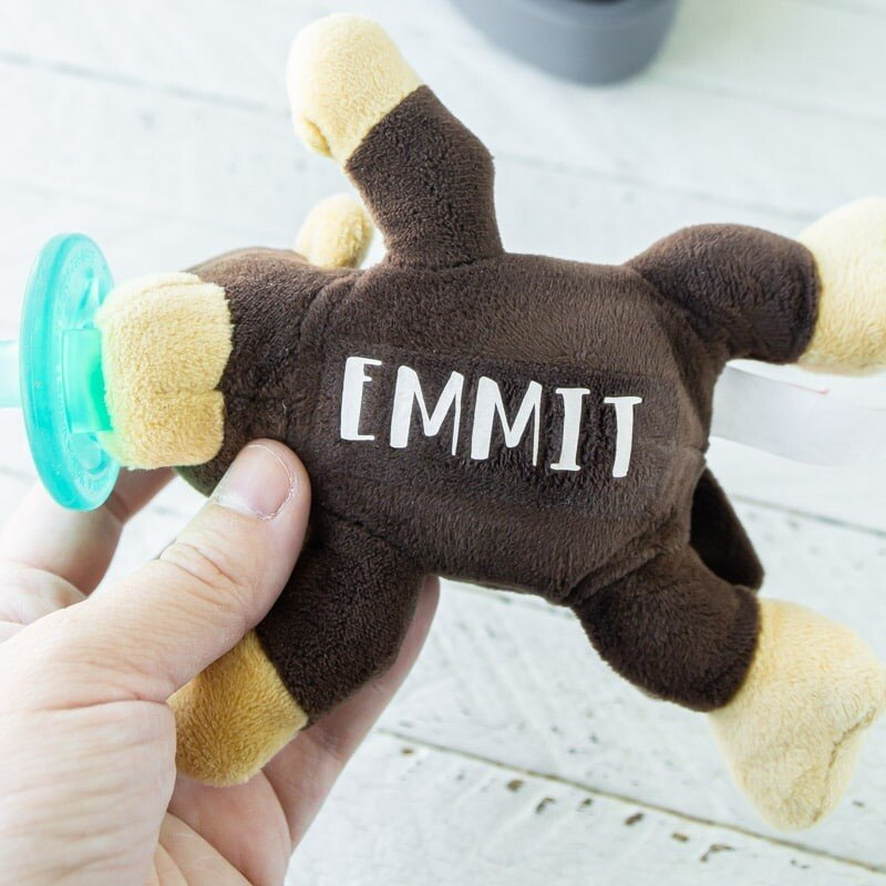 Soothie monkey with personalized baby name