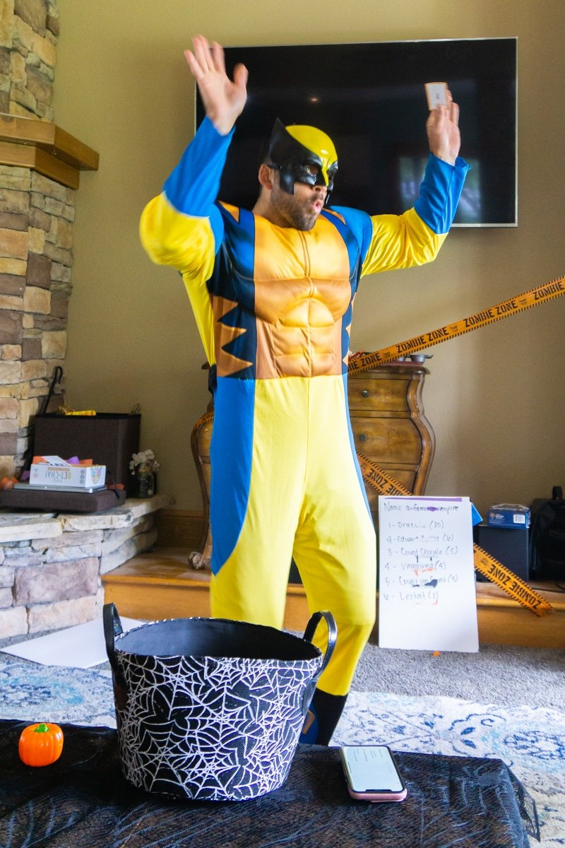 Wolverine acting out Halloween charades