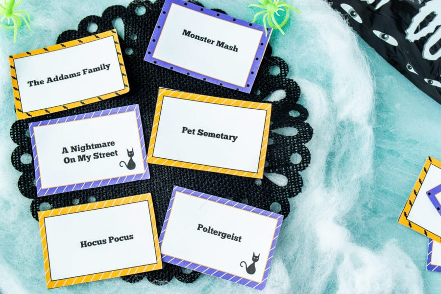 Halloween charades game cards