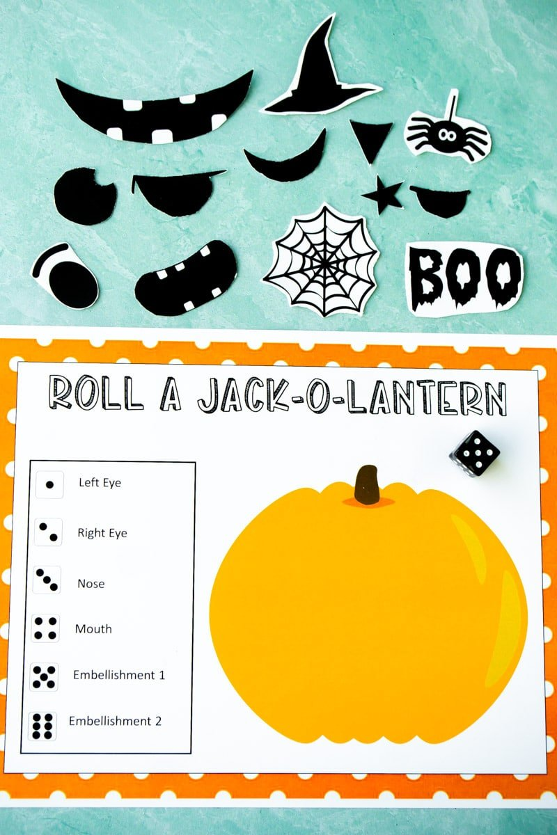 Printed out Roll A Jack O Lantern game