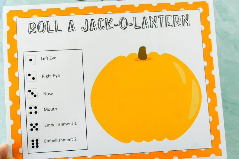 Blank roll a pumpkin game