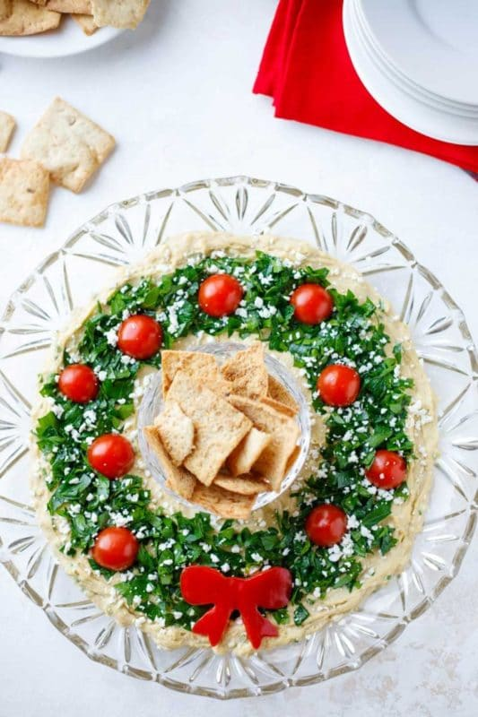 Christmas wreath and other Christmas appetizers