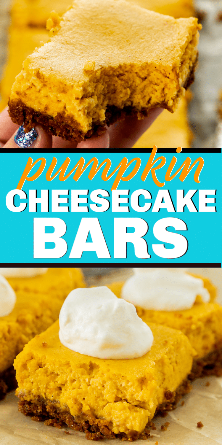 Easy pumpkin cheesecake bars with a graham cracker crust! Such a tasty Thanksgiving dessert idea! Simply the best!