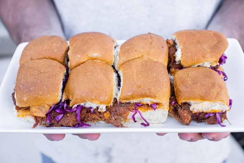 A tray of BBQ pulled pork sliders