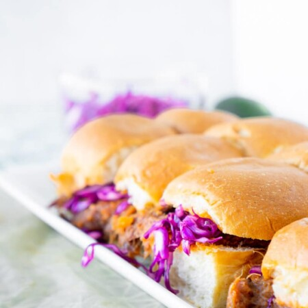 Pulled pork sliders with red cabbage slaw