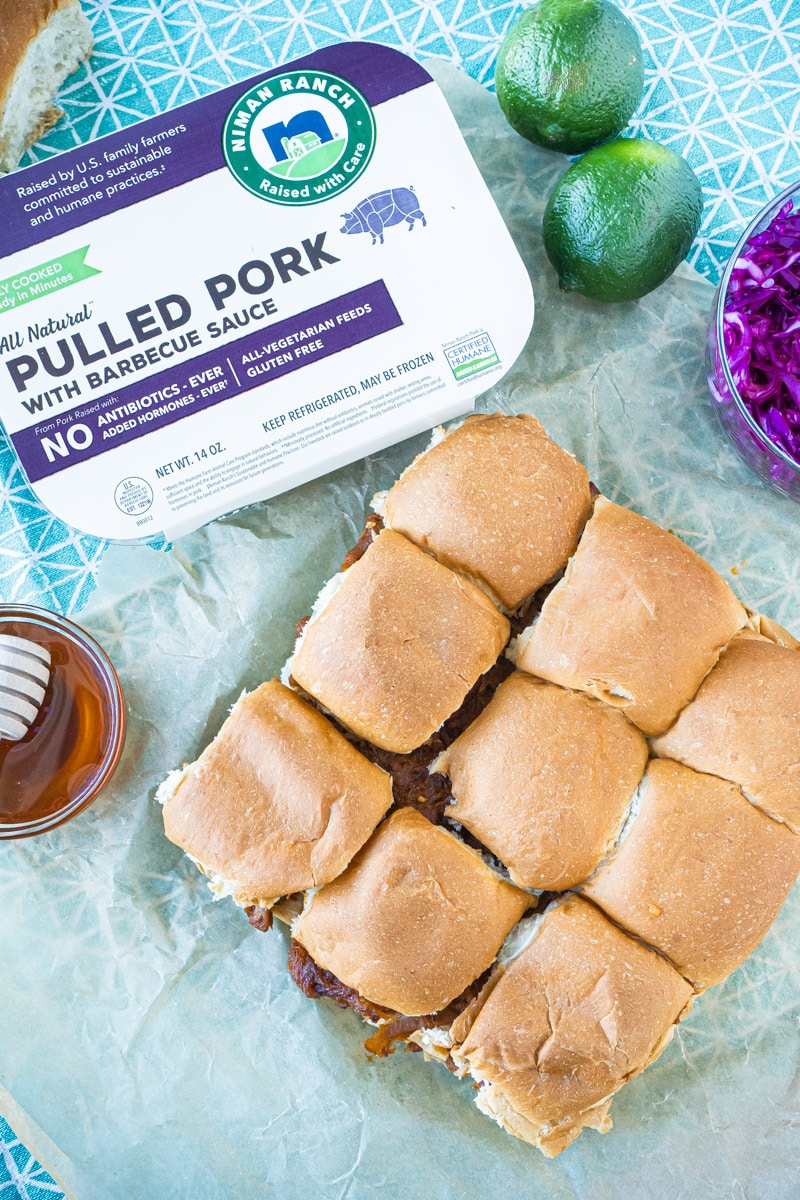 Pulled pork sliders and other ingredients