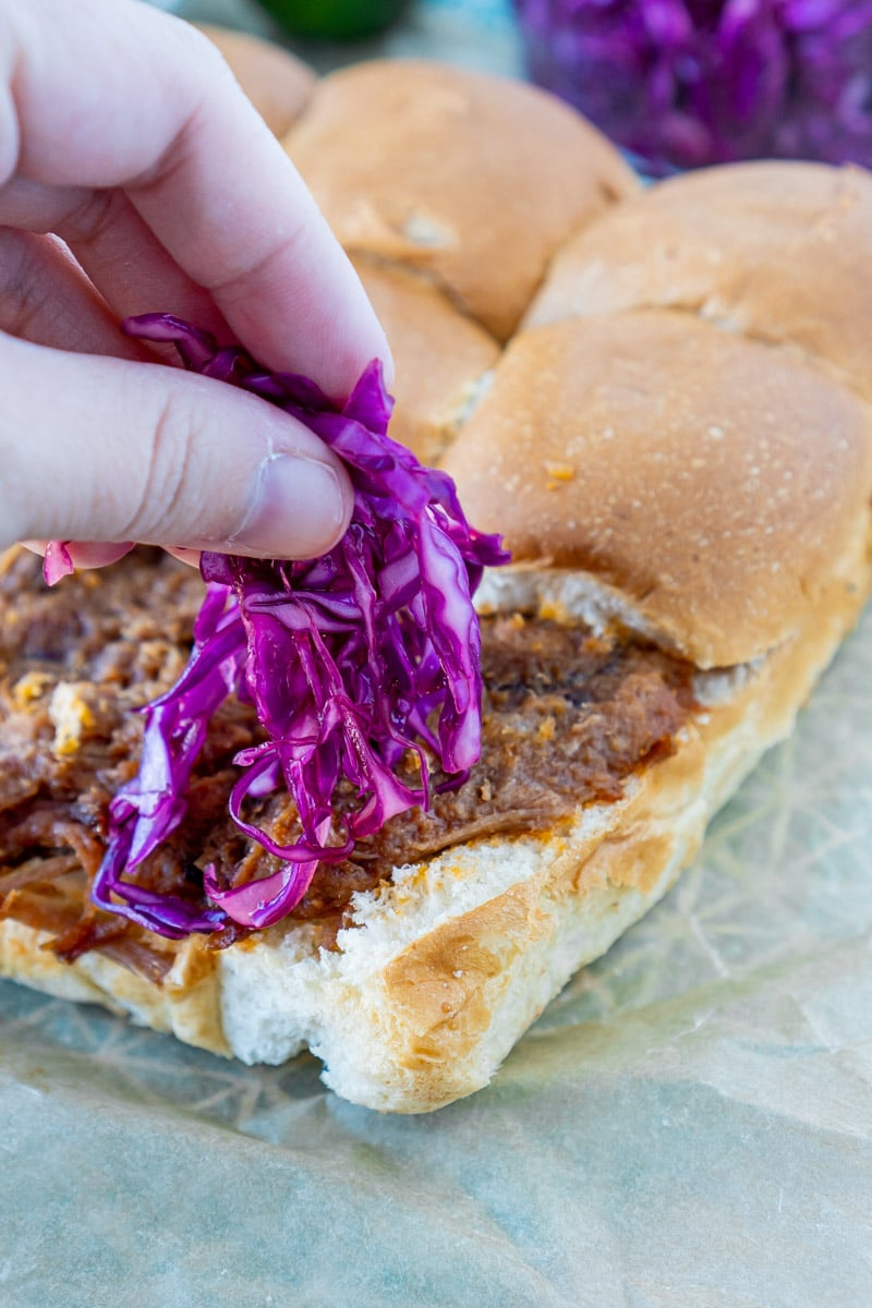 Adding red cabbage slaw to pulled pork sliders