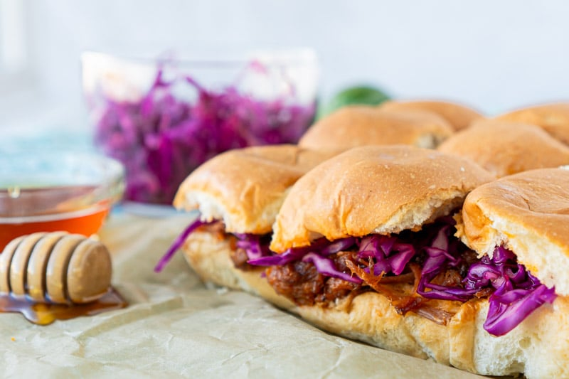 BBQ pulled pork sliders ready to be served
