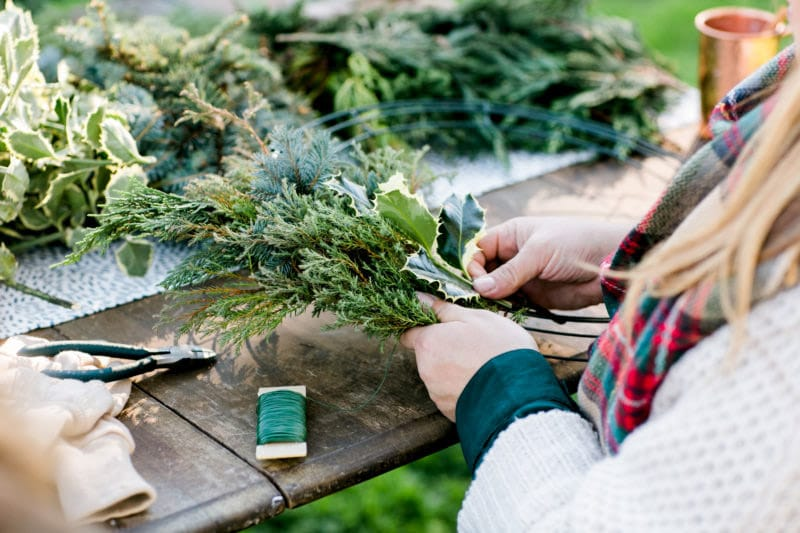 Wreath making Christmas party themes
