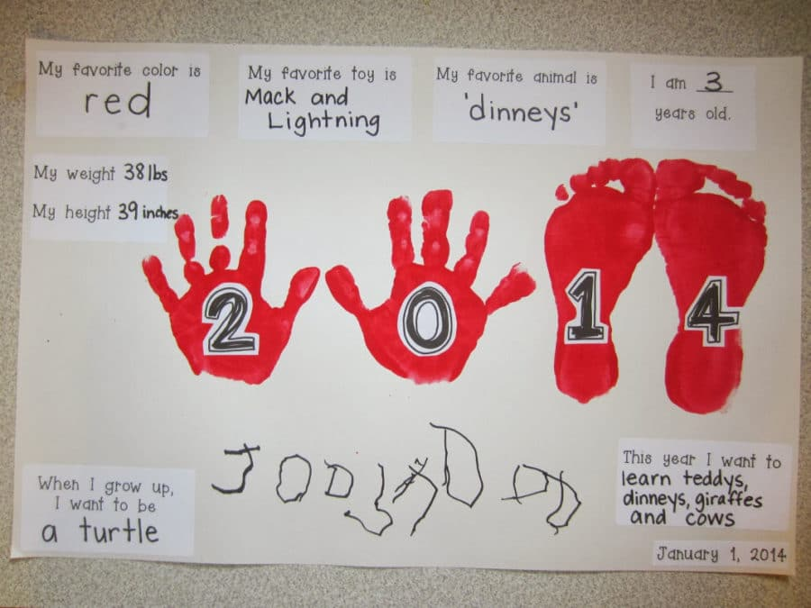 Make handprints at a New Year's Eve for kids