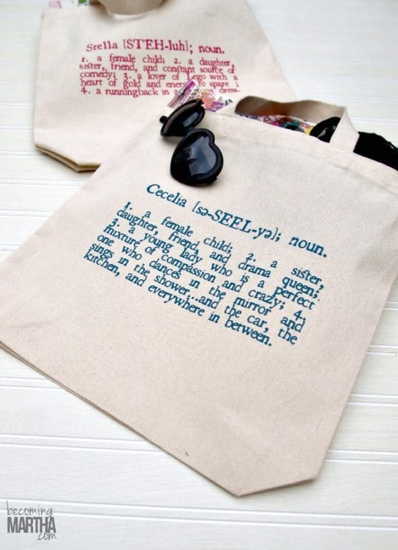 Tote bags make great personalized gifts for kids