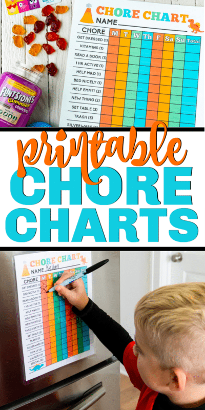 Free printable chore chart for kids! Two different designs that both girls and boys! Daily template that you can add your own family chores to. Great or one kid or multiple kids!