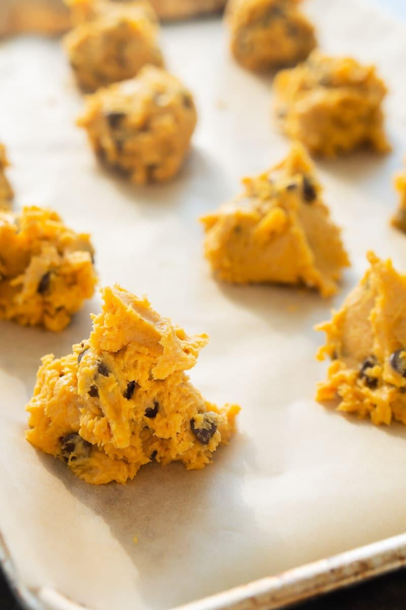 Dough for pumpkin chocolate chip cookies