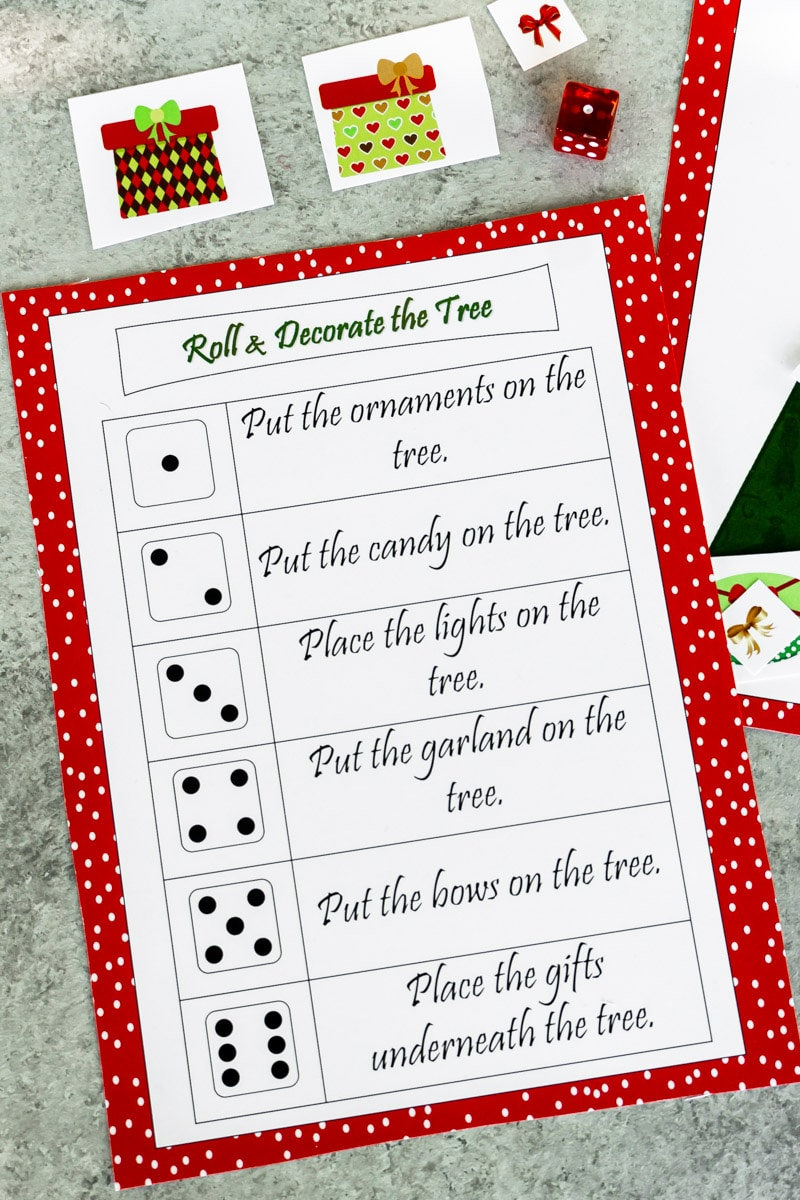 Rules for the roll a Christmas tree game