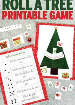 This roll a Christmas tree game is so fun for kids! Perfect for a classroom party for preschoolers, kindergarten, or even elementary school! One of the best Christmas games for kids!