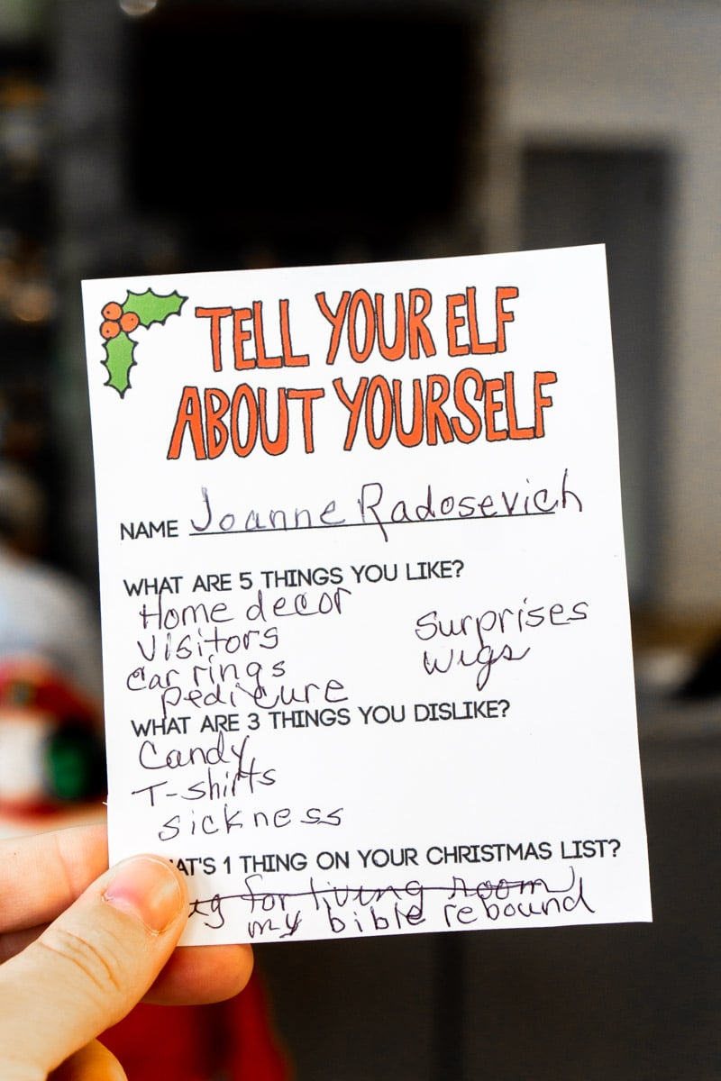 Gift exchange elf card