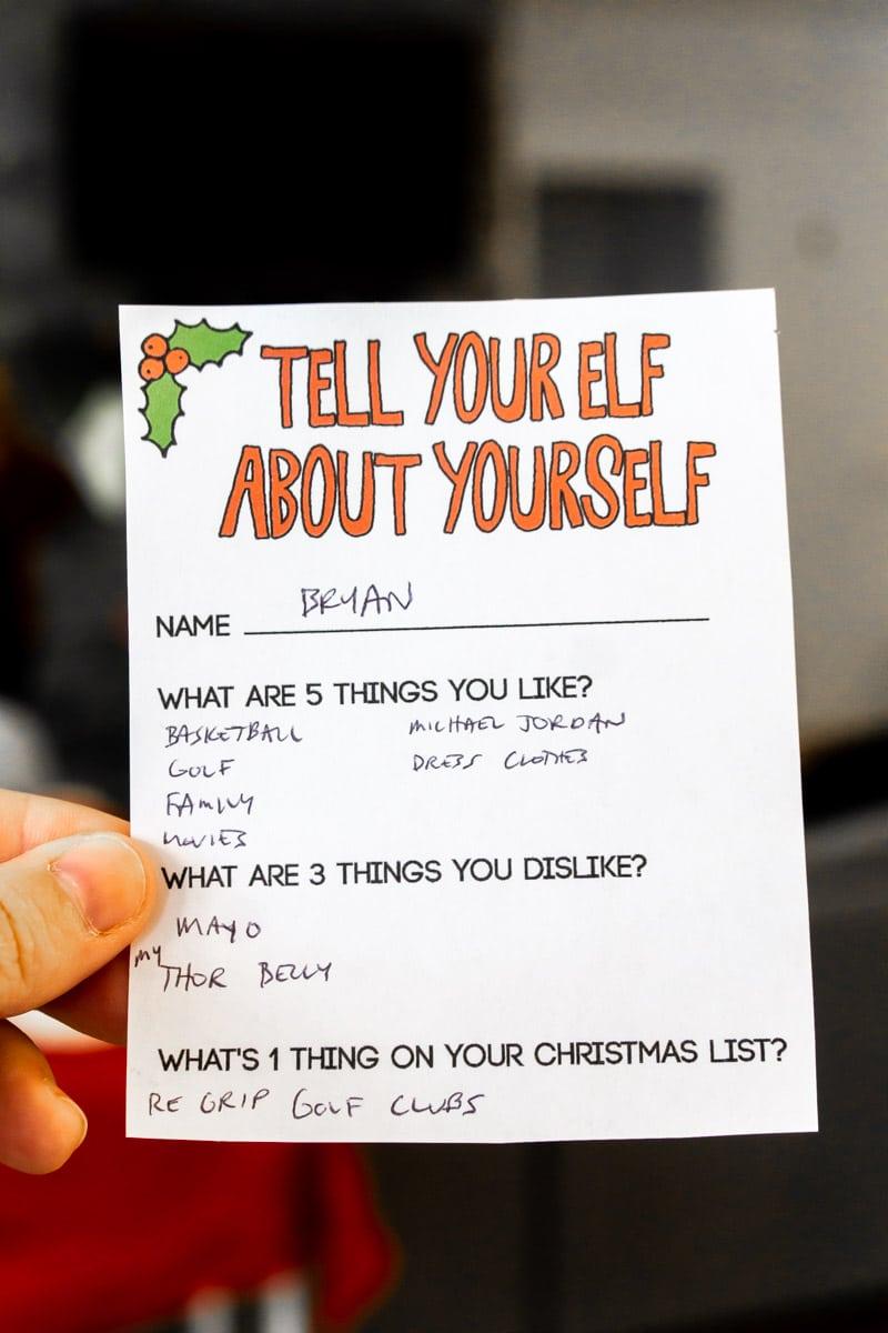 Elf sheet filled out