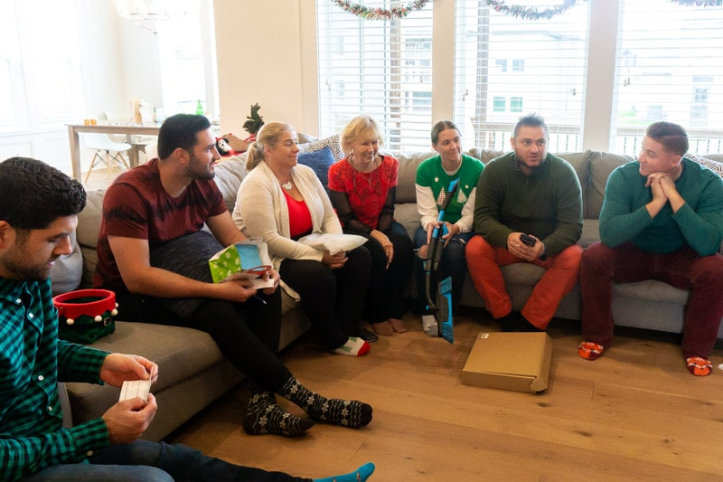 Everyone in a circle for a gift exchange game
