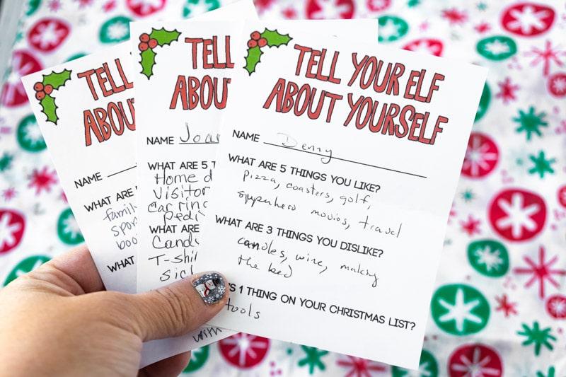 gift exchange elf cards