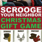 This Scrooge Your Neighbor gift exchange is one of the most fun Christmas games ever! Get the free printable cards and play with your office, a group of adults, or even for family night! It's hilarious and so much fun!