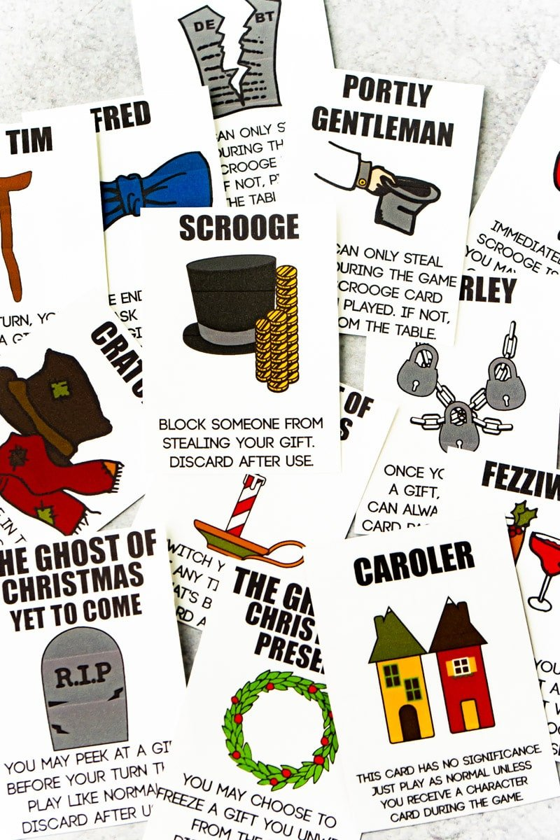Printed out Scrooge Your Neighbor gift exchange cards