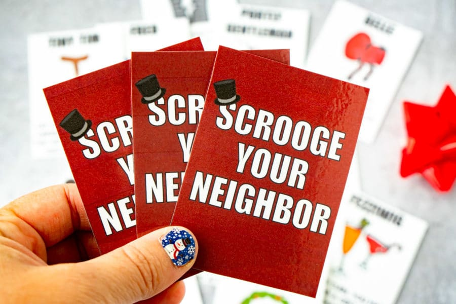 Scrooge Your Neighbor gift exchange cards