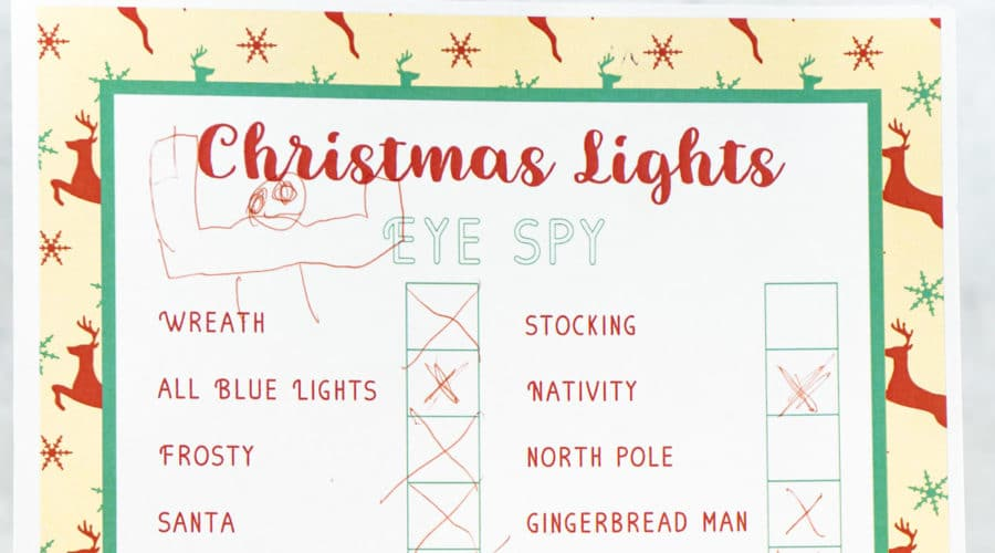 Printable Christmas light scavenger hunt complete with all sorts of fun light displays to look for!