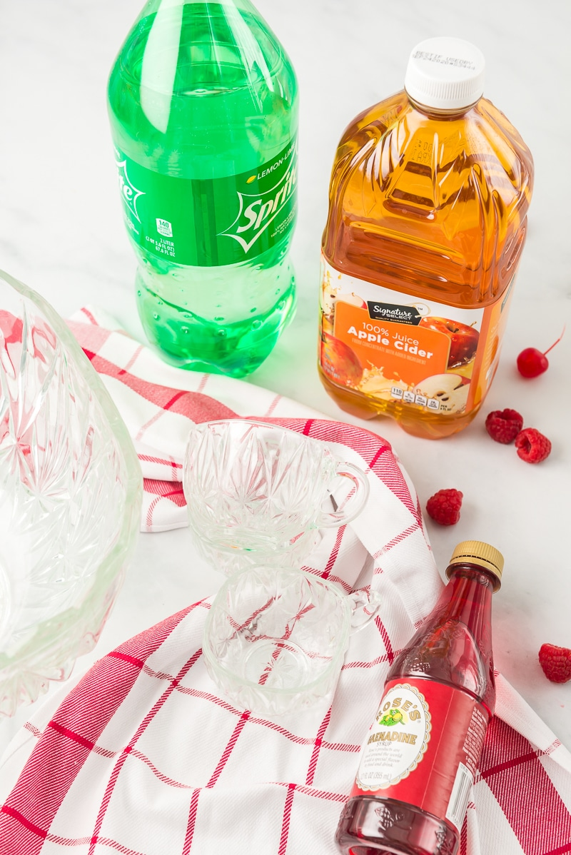 ingredients for an easy Christmas punch recipe
