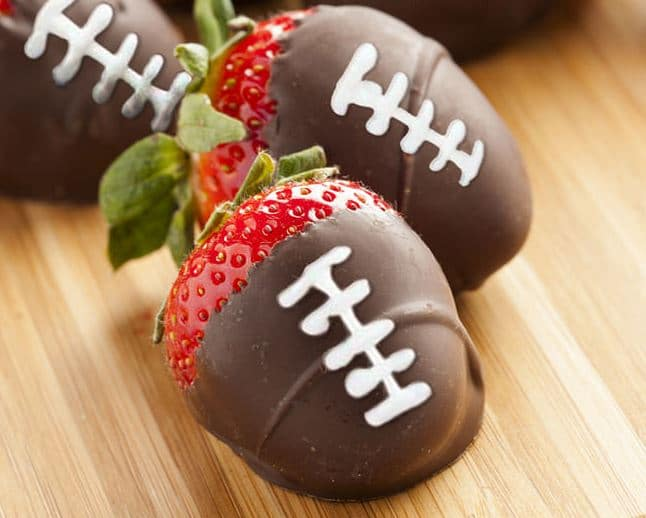 Strawberry footballs make great Super Bowl party menu items