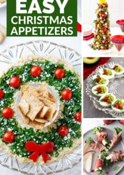 50+ super easy Christmas appetizers that make great finger foods for a party! Everything from make ahead recipes to recipes that are perfect for a crowd! Dips, healthy options, and even kid-friendly options too!