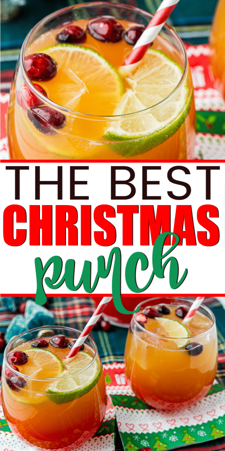 Nonalcoholic Christmas punch that's delicious for kids or adults! Start with a little apple cider, add Sprite, and voila you have one of the best punch recipes ever! Easy to make for a crowd or just for families. Make it with sherbet for a yummy sherbert punch!
