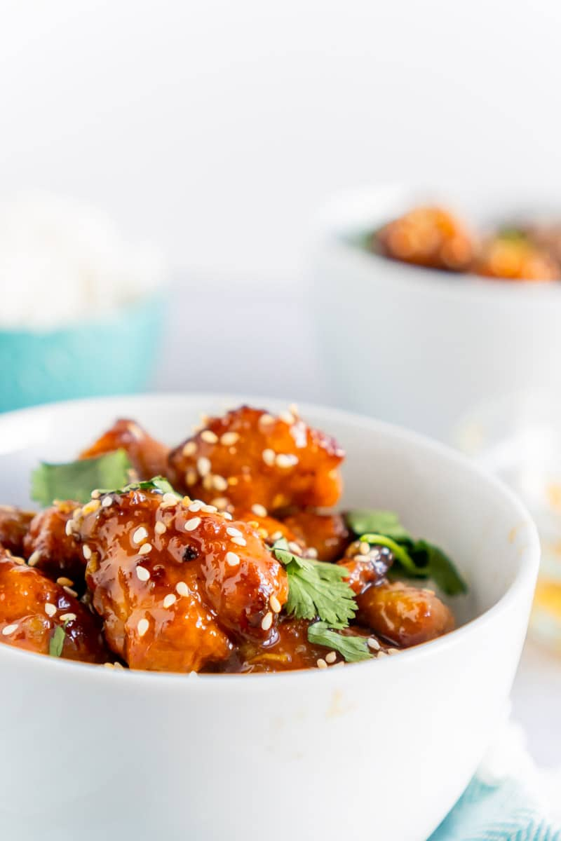 bowl of easy orange chicken