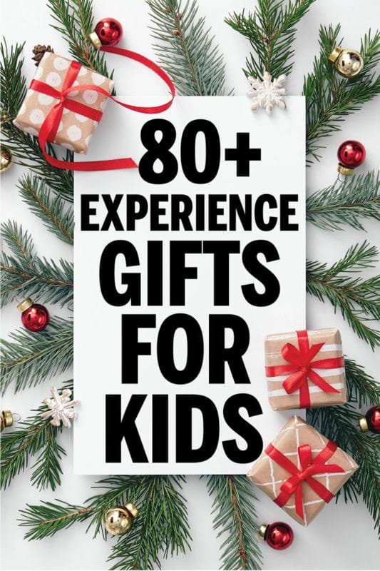 Tons of great experience gifts for kids! Perfect for Christmas, a birthday present, or more! Cheap options, free printable coupons to give the gifts, how to wrap ideas, and more! Perfect for families doing a big gift for the holidays.
