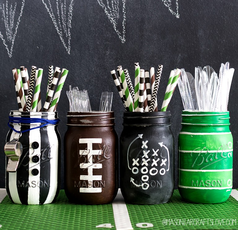 Football mason jars are great super bowl party ideas