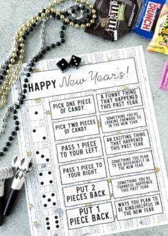Printable New Year's Eve game with dice