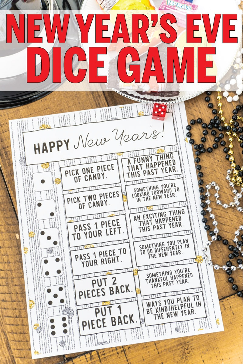 This printable New Year's Eve dice game is perfect for family parties, for kids, for couples, and even for teens! Roll the die, tell a funny memory from 2019, and enjoy a treat while you're at it!