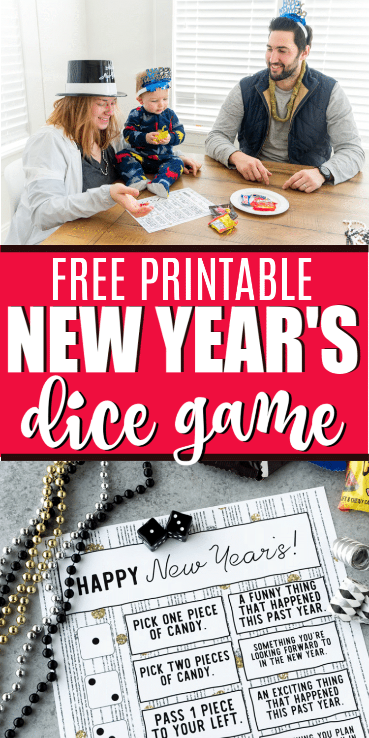 This printable New Year's Eve dice game is perfect for family parties, for kids, for couples, and even for teens! Roll the die, tell a funny memory from 2019, and enjoy a treat while you're at it! via @playpartyplan