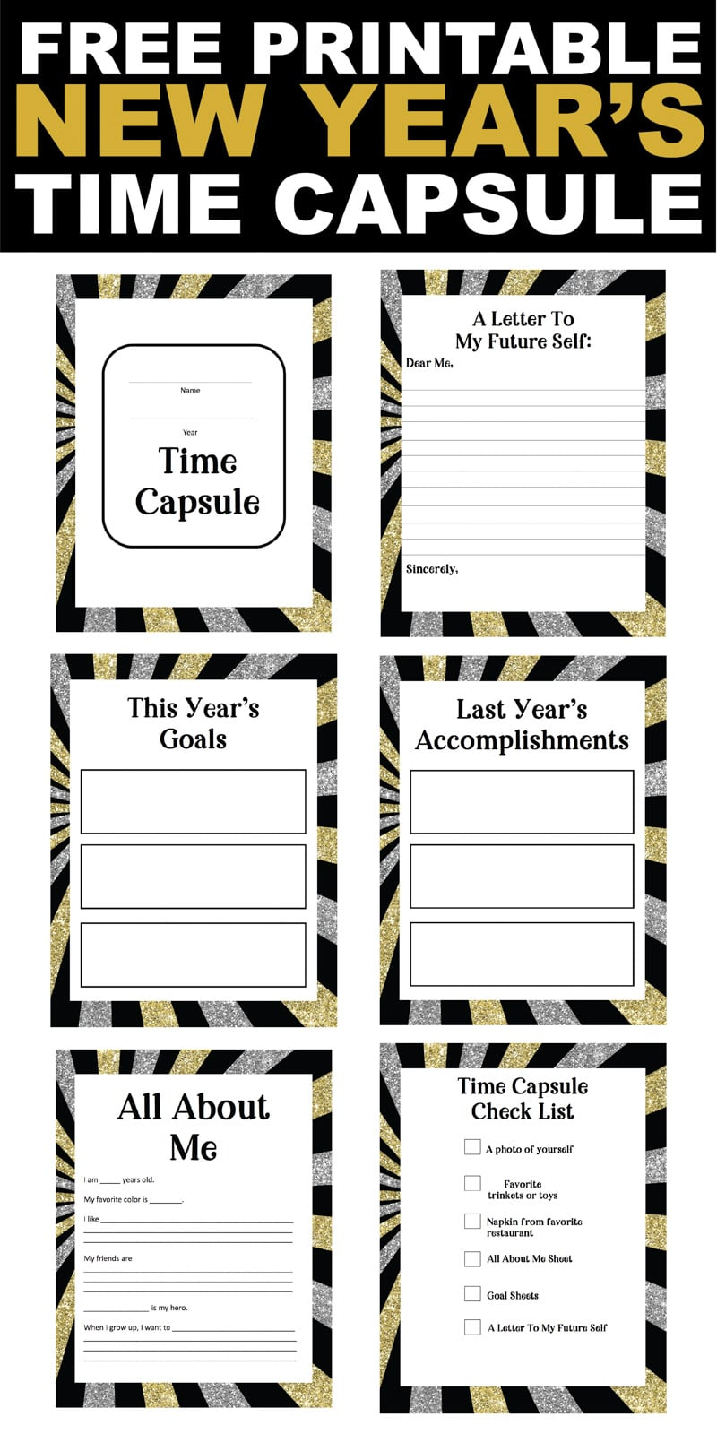This New Year's Eve time capsule is such a fun activity for kids or adults! Comes with free printable pages, suggestions of what to put in a time capsule, and great DIY ideas!