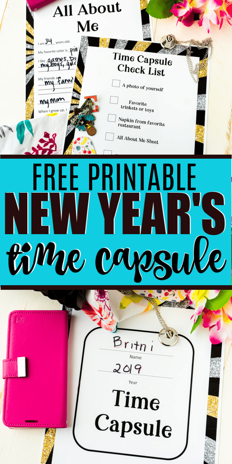 This New Year's Eve time capsule is such a fun activity for kids or adults! Comes with free printable pages, suggestions of what to put in a time capsule, and great DIY ideas! via @playpartyplan