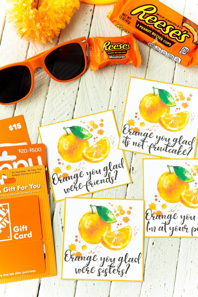 Orange printable gift tags