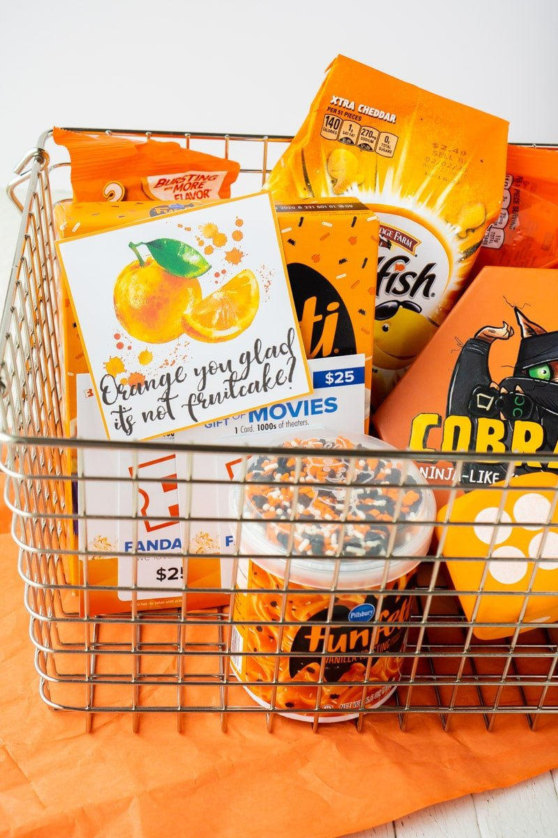 Printable Christmas gift tags with orange items in a basket