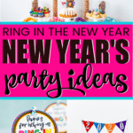 Fun ring in the new year New Year's Eve party ideas for adults (or for teens or even for kids!). Tons o fun ideas you can DIY yourself including decorations, food ideas, simple games, and more! Perfect theme for 2020 whether you're celebrating with friends or just looking for ideas for family fun!