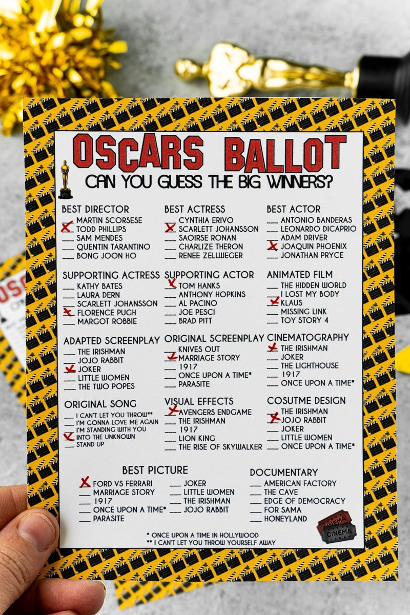 2020 Oscar ballot printable held in a hand