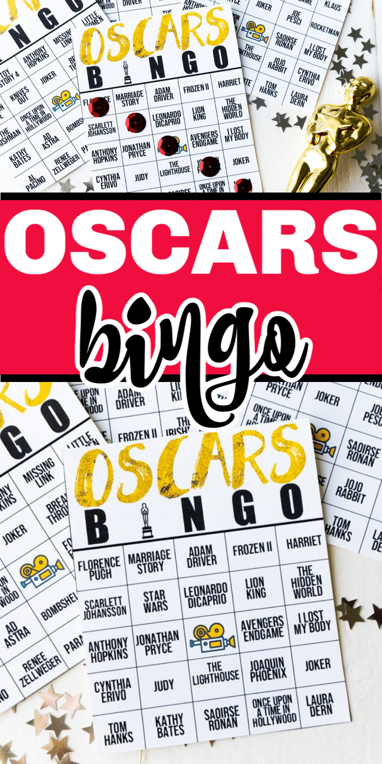 This Oscar bingo game is perfect for your next Oscar party! Mark off spaces when a movie or celebrity is named and try to be the first one to get an Oscar bingo first! via @playpartyplan