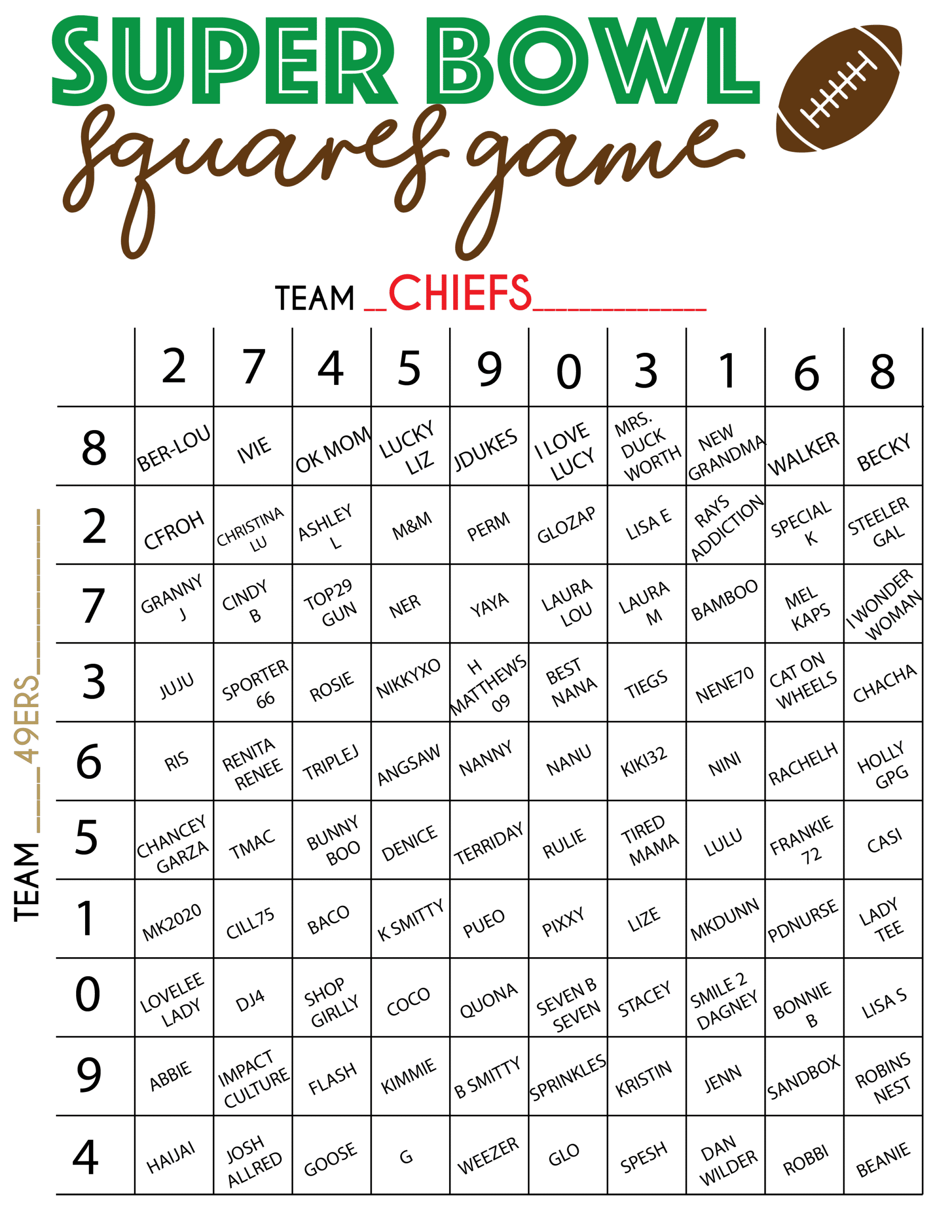 This is an image of Super Bowl Squares Printable pertaining to free printable
