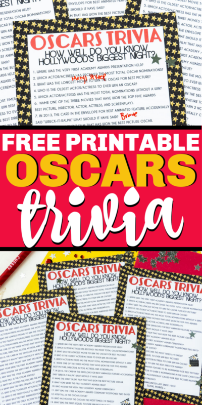 This free printable Oscar trivia is one of the best Oscar party games!