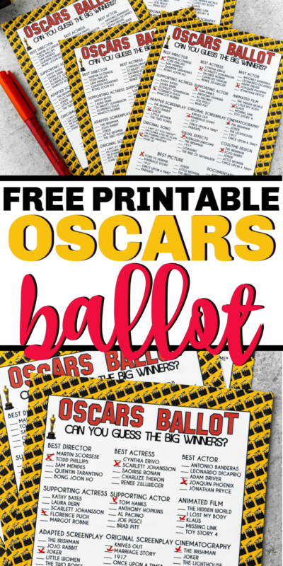 Free printable 2020 Oscar ballot - perfect for voting for your favorite nominees at this year's Oscars!