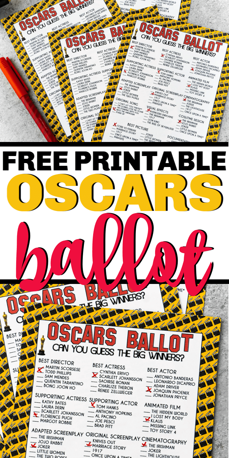 Free printable 2020 Oscar ballot - perfect for voting for your favorite nominees at this year's Oscars! via @playpartyplan